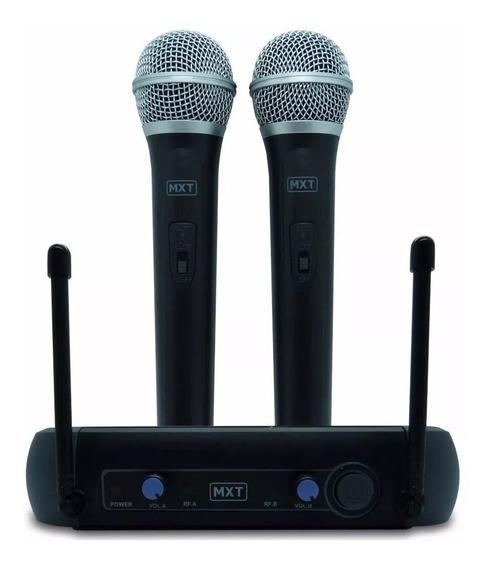 Microfone Sem Fio De Mão Profissional Duplo Mxt 202 Karaoke