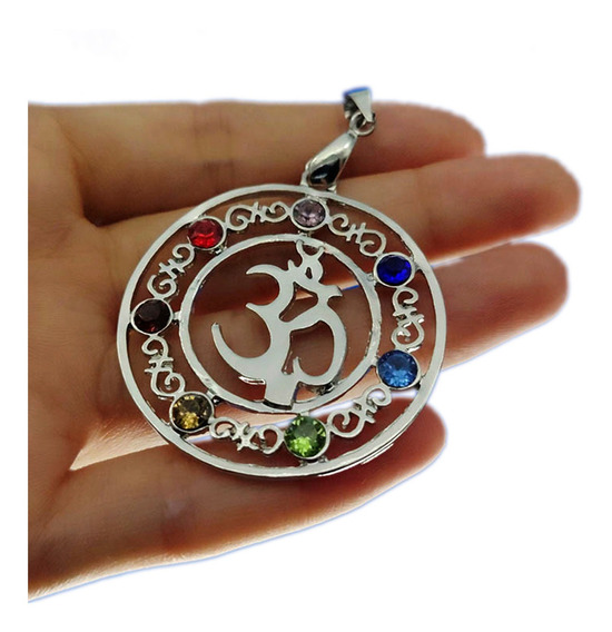 Collar Simbolo Om 7 Chakras Reiki Mandala Yoga Proteccion M2