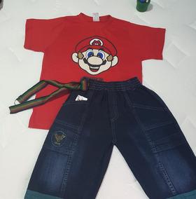 2f794b2f7a Conjunto Infantil Camisa Bermuda Jeans Menino Camiseta