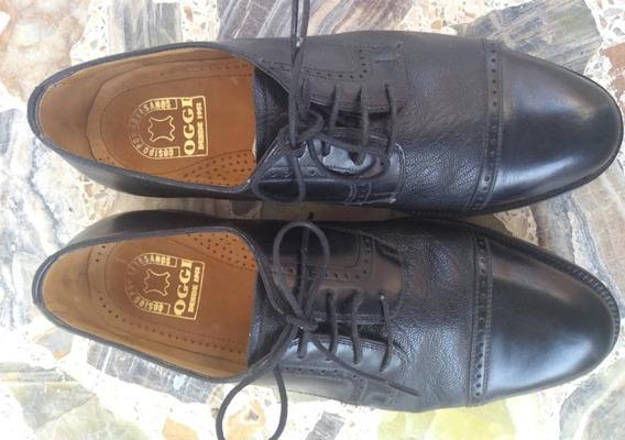 Zapato Hombre Cuero Vacuno Negro Nro 44 - 45. Calce Amplio