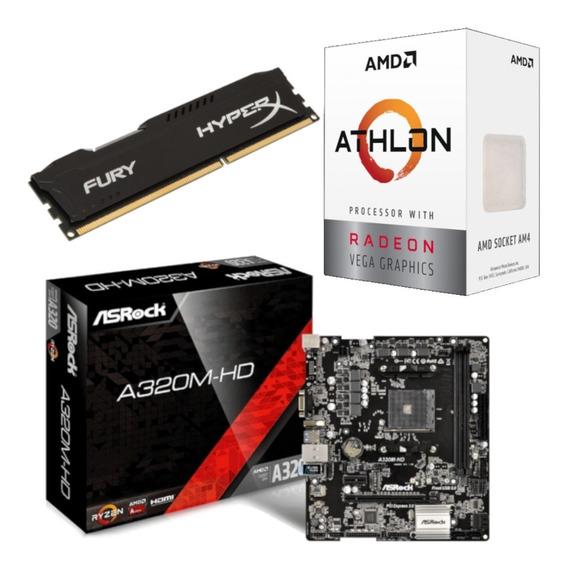 Kit Amd Athlon 200ge + Asrock A320m Hd + Hx 8gb 2400 Mhz