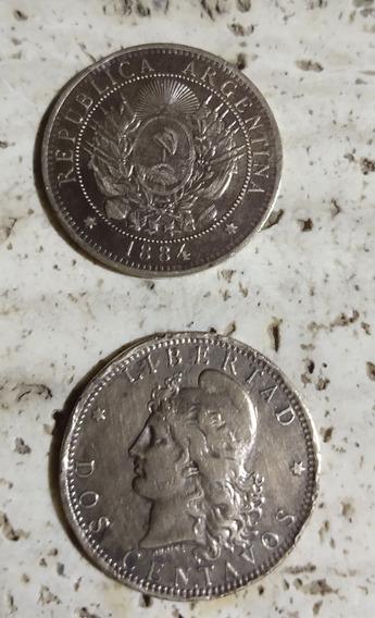 Moneda Argentina De Dos Centavos Patacon (dos) Año 1884-85