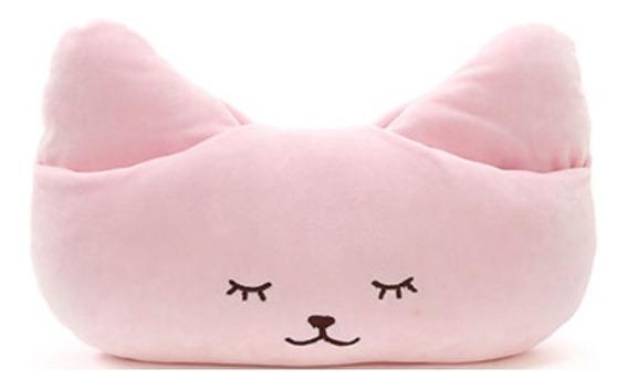 Almofada Gato Com Encaixe Para Mãos Miniso - Cor Rosa
