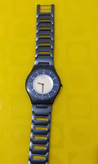 Relógio Swath Swiss Skin ,pulseira Em Alumínio Azul, Lindo!