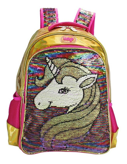 Mochila Lentejuela Reversible Primaria Unicornio Wilys Wk083