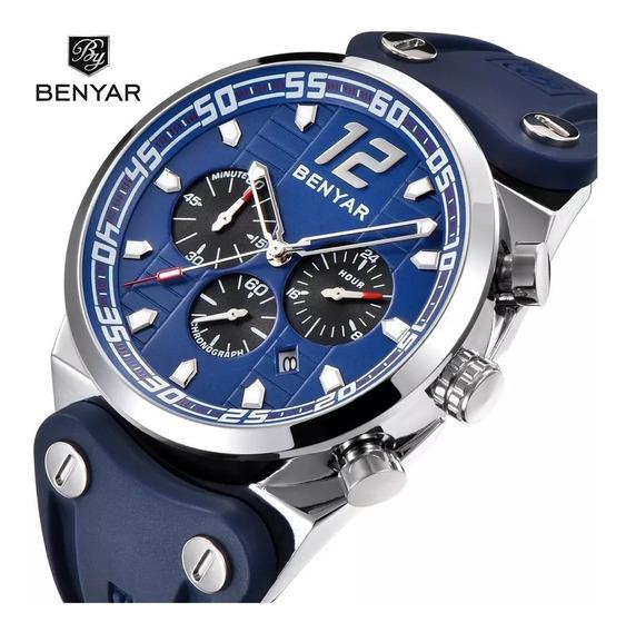 Relógio Masculino Benyar Cronógrafo Pulseira Silicone