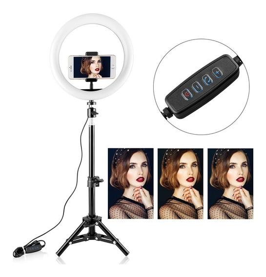 Ring Light + Tripe Iluminador 20 Cm Completo Maquiagem Fotos