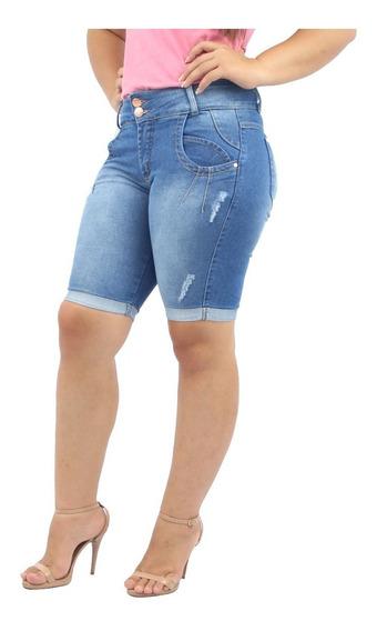 Kit 3 Bermudas Femininas Jeans E Brim Média Alta Qualidade