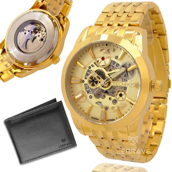 Relógio Masculino Technos Dourado Automático 1 Ano Garantia