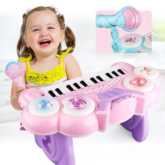 Teclado Piano Infantil Com Bateria Microfone Gravador Rosa