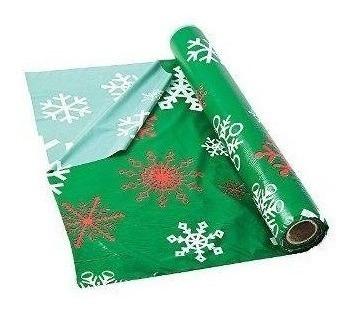 Rollo De Mantel De Plástico Verde Copo De Nieve