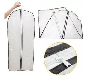 Capa De Sacos Plástico Para Roupas Com Zíper 60x135cm Kit 10
