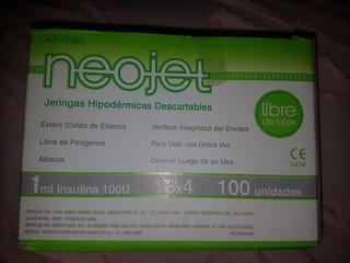 Jeringas 1ml Con Aguja 13x4 Para Insulina X 100 Unidades