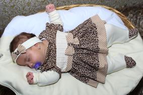 Kit Saída De Maternidade Onça - Macacão-manta Dupla-lacinho