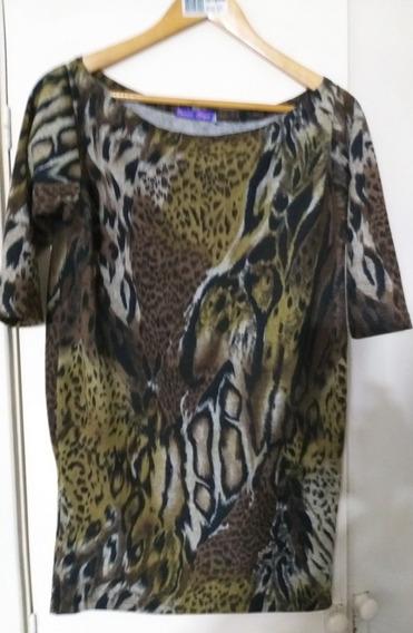 Remeron Lanilla Mujer.animal Print Largo Impecable Lage