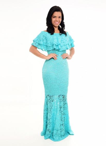 Vestido Longo Cor Tiffany,festa,madrinha,formatura,aniversario,batizado,vestido Longo De Renda Barato