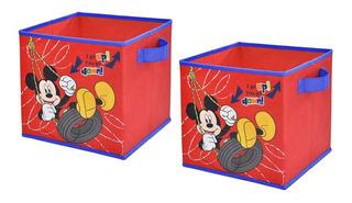 Set 2 Cajas De Tela Organizadores Decoracion Mickey Disney