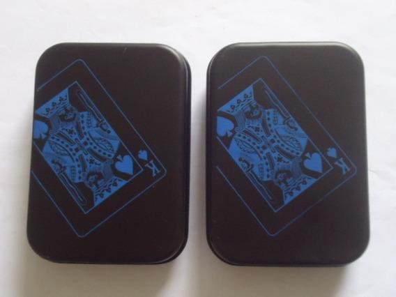 2 Baralhos Preto Luxo Impermeável + Caixa Metal Ilusionista