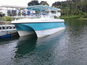 Bote Doble Quilla Catamaran Con 2 Motores Suzuki 16 Personas
