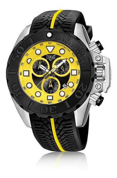 Relógio Pulso Everlast Masculino Cronografo Aço Preto E615