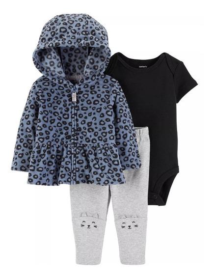 Conjunto Carters Inverno Meninas 3 Peças Blusa, Body E Calça