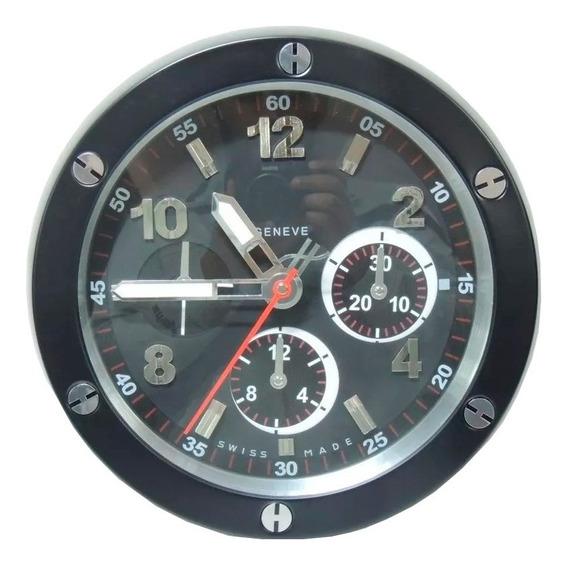 Relógio De Parede Decorativo Sem Barulho Aço Inox Geneve