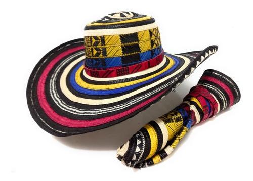 Imagen 1 de 7 de Sombrero Vueltiao Tricolor 15 Vueltas Colombiano