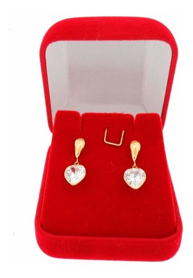 Brincos De Coração 6mm Feminino Em Ouro 18k-750