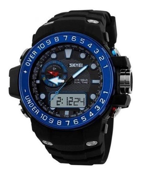 Relógio Masculino Skmei Anadigi 1063 - Preto E Azul Original