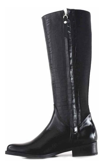 Bota Caña Alta Mujer Cuero Briganti Zapatos Croco Mcbo24985