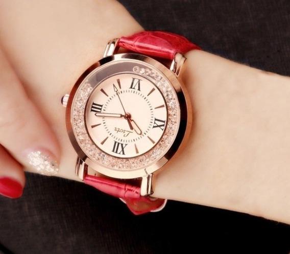 Relógio Analógico Inoxidável Quartzo Luxo De Couro
