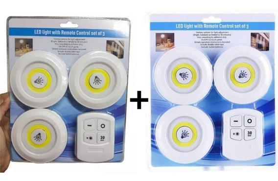 2 Kits 3 Lâmpadas Led Spot Sem Fio Controle Remoto Luminária