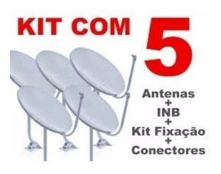 Kit 5 Antenas 60cm Banda Ku + 10m De Cabo + 5 Lnb Universal