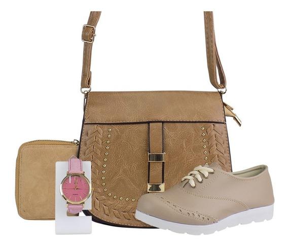 Kit Oxford Feminina + Bolsa + Relógio Dourado + Carteira