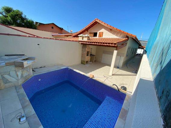 Casa Com 2 Dorms E Piscina Em Mongaguá - R$ 339 Mil, Cod: 385 - V385