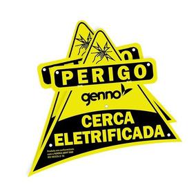 Placa Cuidado Cerca Eletrica Perigo Advertência Genno Abnt