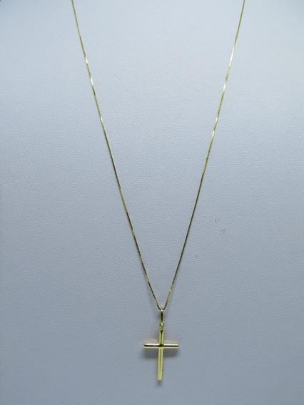 Cordão Corrente Masculina 60cm + Pingente Crucifixo Ouro 1
