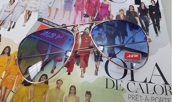 Óculos De Sol Modelo Aviador Azul Degrade C/ Dourado Unissex