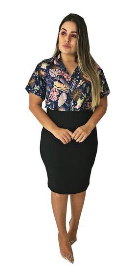 Conjunto Saia Babado Midi + Blusa Camisa Moda Evangelica