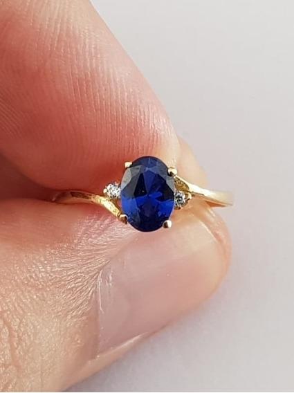 Anel De Formatura 100% Ouro 18k Pedra Azul Delicado