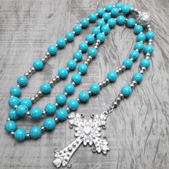 Terço Rosário Católico Longo - Noiva - Azul Turq.(artesanal)