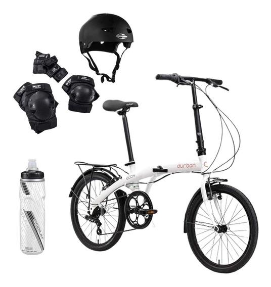 Bicicleta Dobrável Durban Eco+ Preto Aro 20 + Kit Proteção
