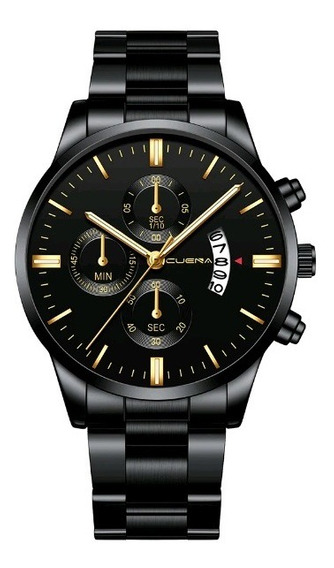 Relógio Masculino Preto Black Motion Design Quartz Metal