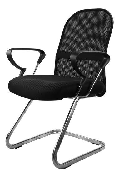 Cadeira Interlocutor Em Tela Mesh Com Base Cromada