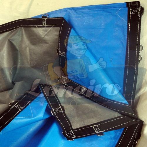 Imagem 1 de 6 de Lona Capa 27x13 Cinza Preta Plastica Cobertura Gigante Pppe