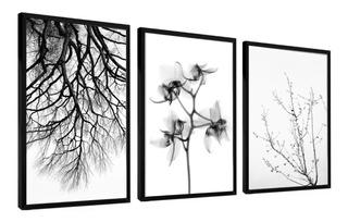 Quadro Decorativo Árvore Flores Preto E Branco Minimalista