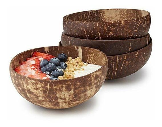 10 Bowls De Coco Artesanal Tamaño Grande