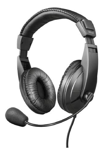 Imagen 1 de 10 de Audifonos Diadema Trust Quasar 3.5 Mm Negro Con Microfono