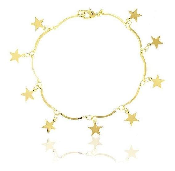 Pulseira Com Estrelas Banhada Em Ouro 18k