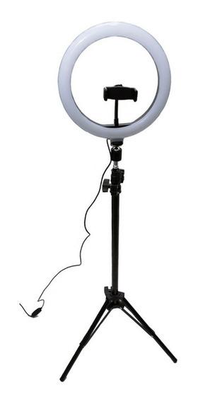 Iluminador Ring Light Anel Luz 26cm 3200k À 5500k Novo Maquiagem Fotos Selfies Videos Completo + Tripé 1.70 Metros